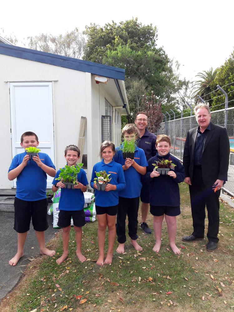 Churton School Vegetable Garden Team with Gareth Carter from Springvale Garden Centre